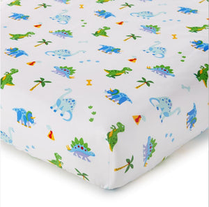 Dinosaurs Cotton Fitted Baby Crib Sheets 2-Pack