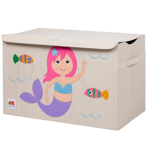 Mermaid Appliqued Toy Storage Chest / Foldable Canvas Box / Bin 24""