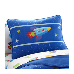 Blue Space Rocket Pillow Sham