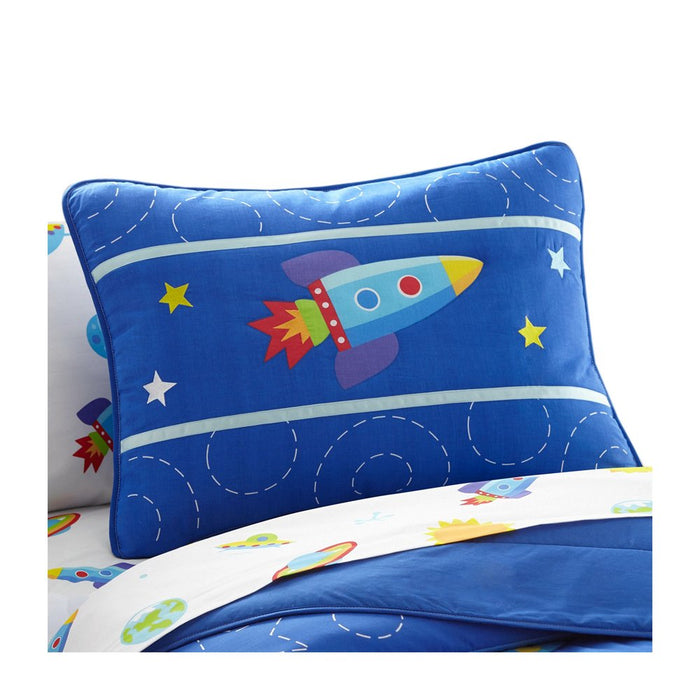 Blue Space Rocket Kids Pillow Sham