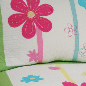 Pink & Green Daisy Floral Girl Bedding Twin Quilt Set - Detail