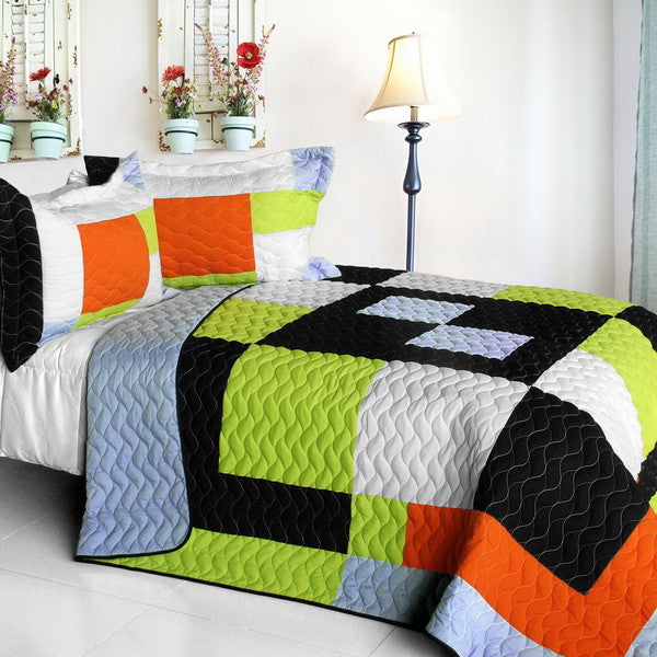 Geometric Orange Black Green Teen Bedding Boy or Girl Full/Queen Quilt Set Modern Bedspread