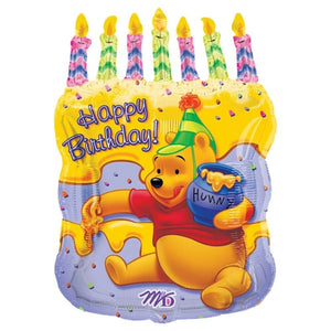 "Winnie The Pooh Birthday Cake & Candles Jumbo 23"" Party Balloon"