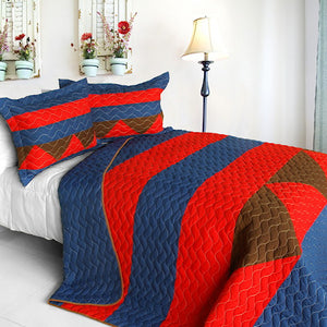 Red Blue Brown Geometric Teen Boy Bedding Full/Queen Quilt Set Modern Striped Bedspread