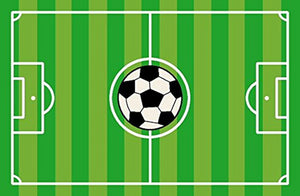 Striped Soccer Field & Soccer Ball Rectangle Green Sports Rug