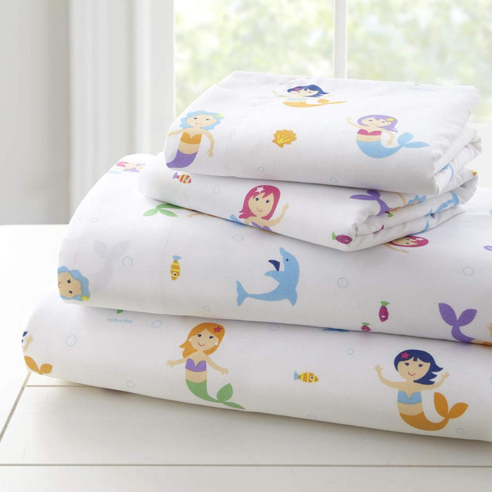 Mermaids Kids Microfiber Bed Sheet Set Toddler Twin Full