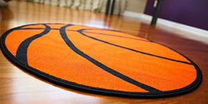 "Basketball Shaped 3'3"" or 6'6"" Round Sports Rug"