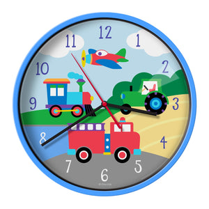 "Train Plane Tractor Truck Kids 12"" Wall Clock - Transportation Vehicles"