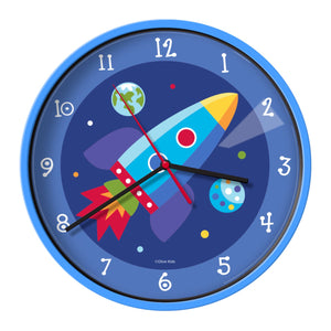 Space Rocket Out of This World Kids Wall Clock
