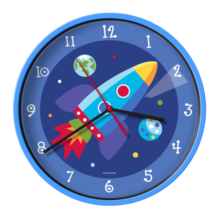 "Blue Outer Space Rocket Galaxy Kids 12"" Wall Clocks"