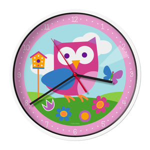 "Pink Owl Kids 12"" Wall Clock"
