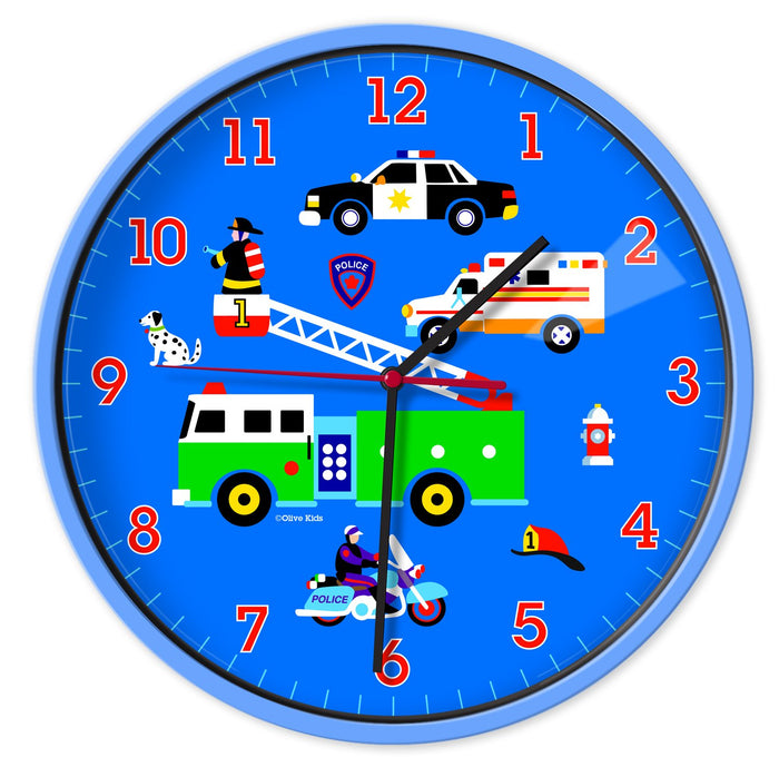 "Fire Truck Police Car Rescue Ambulance Heroes Kids 12"" Blue Wall Clock"