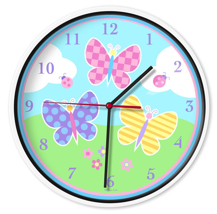 "Pink & Blue Butterfly Kids 12"" Wall Clock"