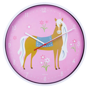 Pink Horse Girl Wall Clock