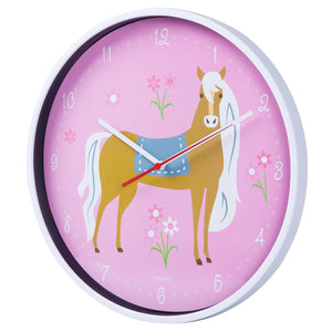 "Pink Pony Horse Girl 12"" Wall Clock"