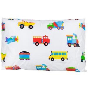 "Trains Planes Trucks Cotton Toddler Pillowcase 19"" x 13.5"""
