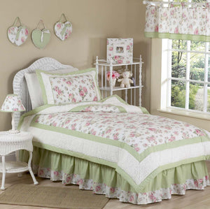 Elegant Pink Green Rose Print Floral Girl Bedding Twin Comforter Set Riley's Roses Soft Chenille & Cotton