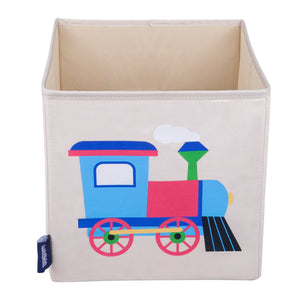 "Train 10"" Cube Canvas Toy Storage Box / Bin"