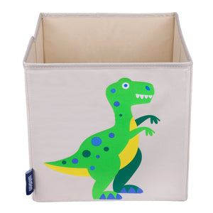 "T-Rex Dinosaur 10"" Cube Canvas Toy Storage Box / Bin"