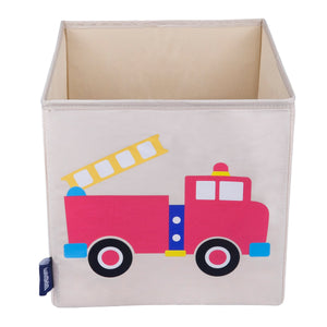 "Red Fire Truck 10"" Cube Canvas Toy Storage Box / Bin"