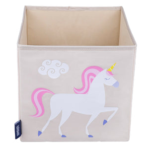 "Unicorn 10"" Cube Canvas Toy Storage Box / Bin"