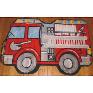 Bathroom Rug 23rd Street Creations 16 x 23 in Fire Truck and Ambulance Decor