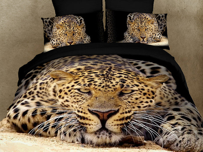 Black Cheetah Safari Bedding Queen 6pc Duvet Cover Set Designer Ensemble