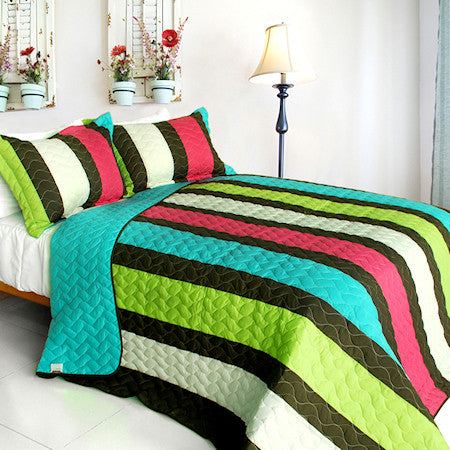 Green Blue Hot Pink Striped Teen Girl Bedding Full/Queen Quilt Set Modern Bedspread