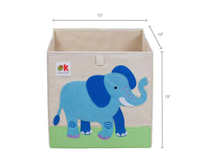 "Elephant 13"" Cube Canvas Toy Storage Box / Bin with Applique"