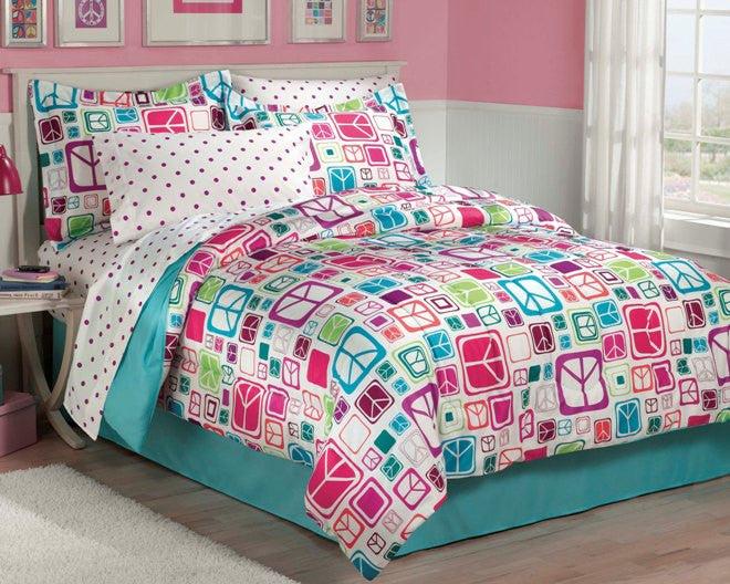 Modern Peace Sign Bedding for Teen Girls Twin or Full Comforter Set Bed in a Bag Ensemble Pink Blue