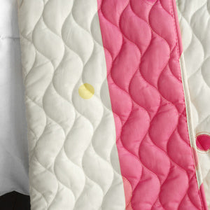 Pink Green Polka Dot & Striped Girl Bedding Twin Full/Queen King Quilt Set - Back