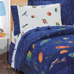 Planets Outer Space Bedding for Boys Twin or Full Comforter Set Bed in Bag Galaxy Navy Blue Ensembe