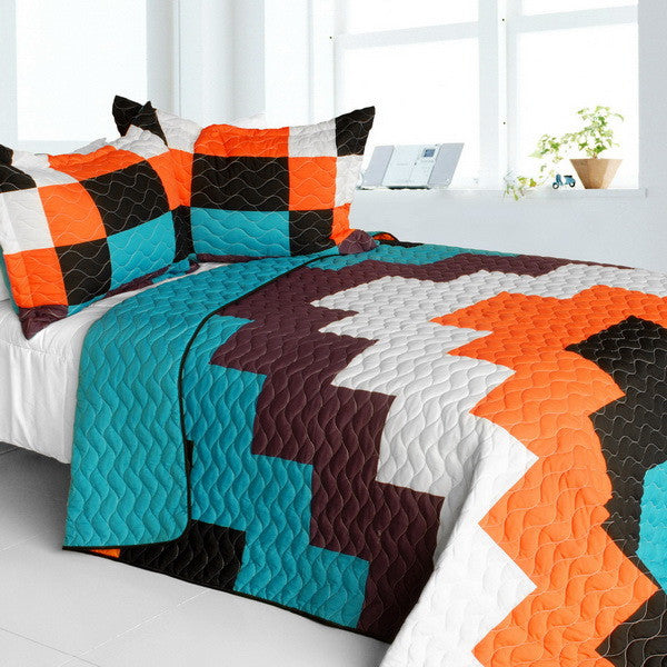 Turquoise Blue Orange Black & White Geometric Teen Bedding Full/Queen Quilt Set Patchwork Colorblock Bedspread