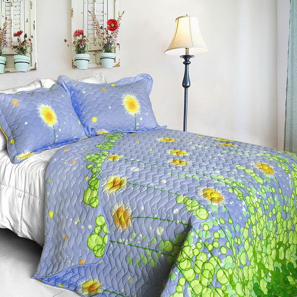 Blue Green Spring Meadow Girl Bedding Twin Full/Queen King Quilt Set Cotton Bedspread Dandelions