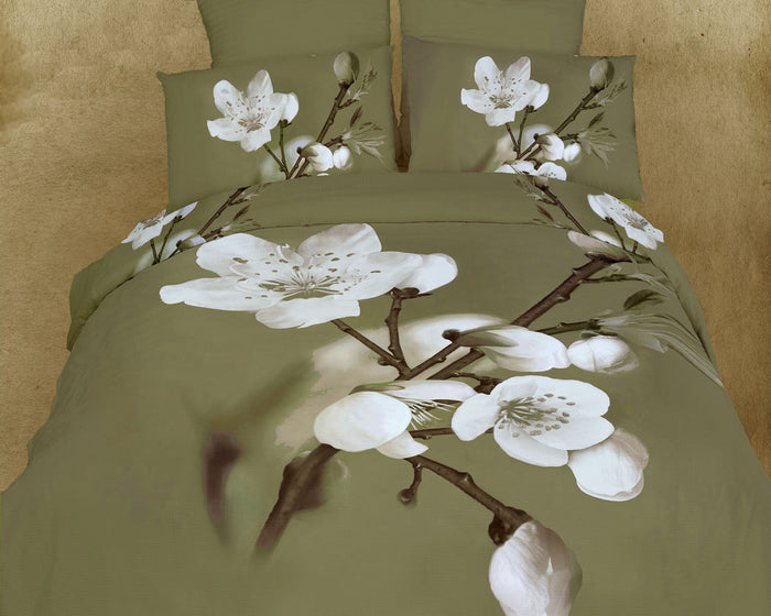 Sage Green Tree Blossom Bedding Duvet Cover Set King Designer Ensemble