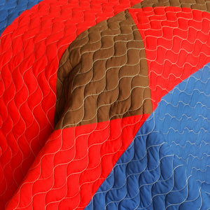 Red Blue Brown Geometric Teen Boy Bedding Full/Queen Quilt Set - Detail