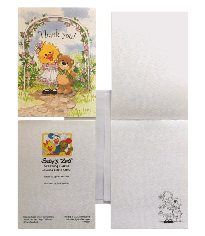 Suzy's Zoo Suzy Ducken & Willie Bear Garden Hug Thank You Cards 2 CT