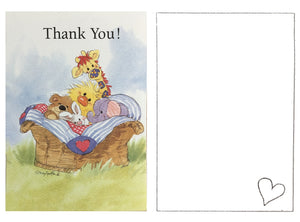 Little Suzy's Zoo Baby Animals in Basket Thank You Cards 2 CT - Witzy Duck, Bear, Bunny, Giraffe, Elephant