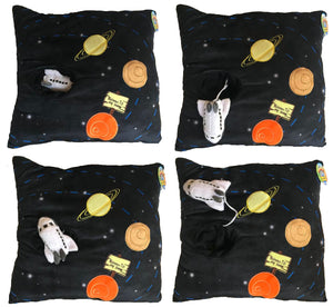 "Outer Space Black Plush Decorative Pillow 13"" with Attached Rocket Toy"