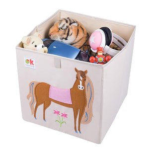 "Horse 13"" Cube Canvas Toy Storage Box / Bin with Applique"