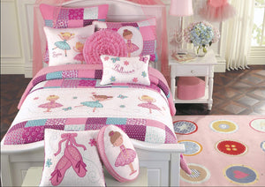 Pink Ballerina Dance Girl Bedding Twin Full/Queen Cotton Patchwork Quilt Set