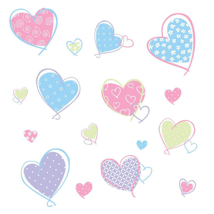 Pastel Hearts Peel & Stick Wall Decals Stickers Pink Blue Purple