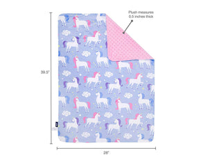 "Unicorn Purple Baby Crib Blanket 29"" x 35"" Plush Velour Minky Throw"