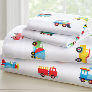 Trains Planes Trucks Microfiber Sheet Set