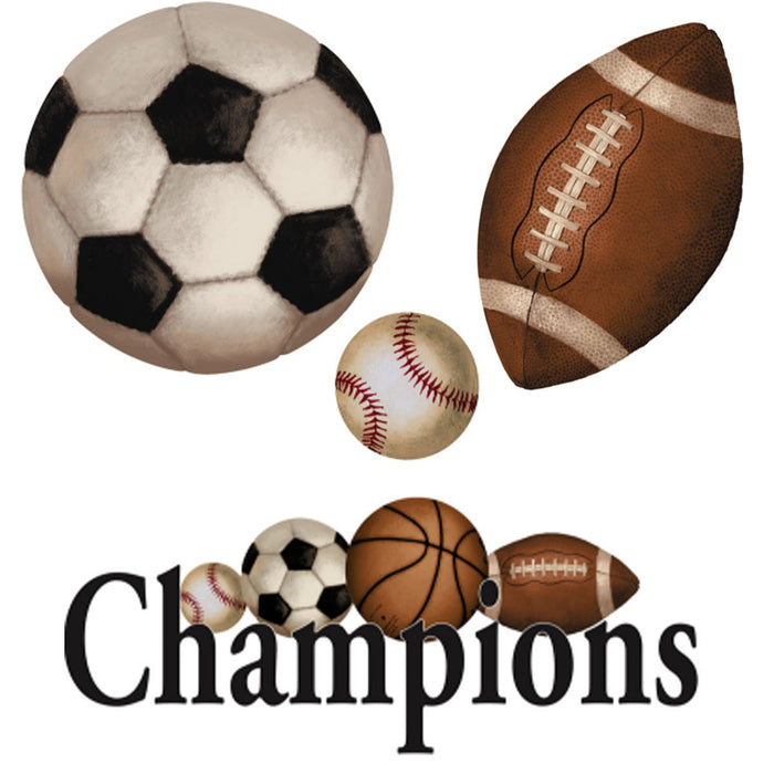 Sports Balls Peel & Stick Wall Decals Stickers Soccer Football Baseball Basketball
