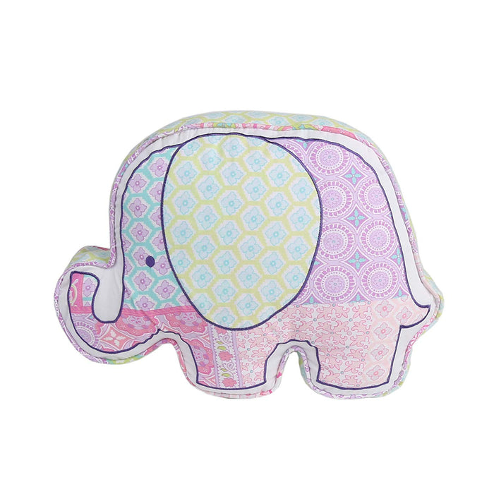 "Ellie Elephant Pink Shaped Cotton Decorative Throw Pillow 18"" x 13"""