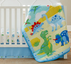 Dinosaur Land Baby Crib Bedding 3-Piece Blue Microfiber Nursery Set