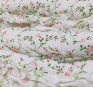 Shabby Chic Pink Lace Bedding Twin Full/Queen King Ruffled Striped Quilt Set