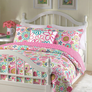 Pink Green Flower Garden & Polka Dot Girl Bedding Twin Full/Queen King Quilt or Comforter Set