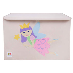 Fairy Princess Appliqued Toy Storage Chest / Foldable Canvas Box / Bin 24""